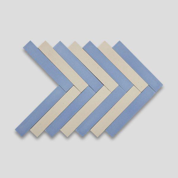Blue Cream Herringbone Encaustic Cement Tile