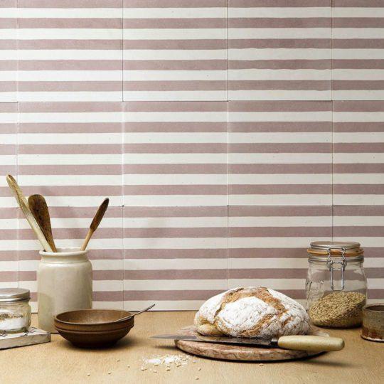 Dirty Pink Stripes Encaustic Cement Tile