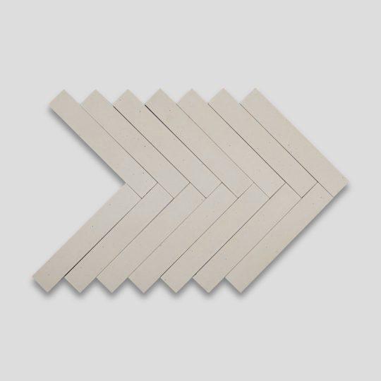 Dirty White Herringbone Encaustic Cement Tile