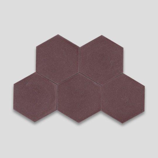 Hex Plain Aubergine Hexagon Encaustic Cement Tile