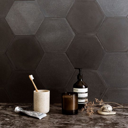 Hex Plain Deep Black Hexagon Encaustic Cement Tile