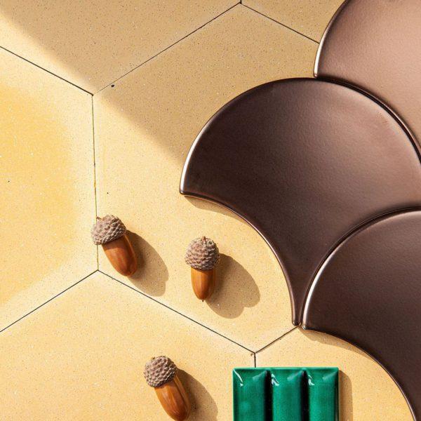 Hex Plain Yellow Hexagon Encaustic Cement Tile