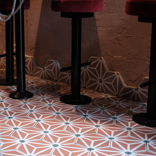 Hex Triangle Pink Hexagon Cement Tile