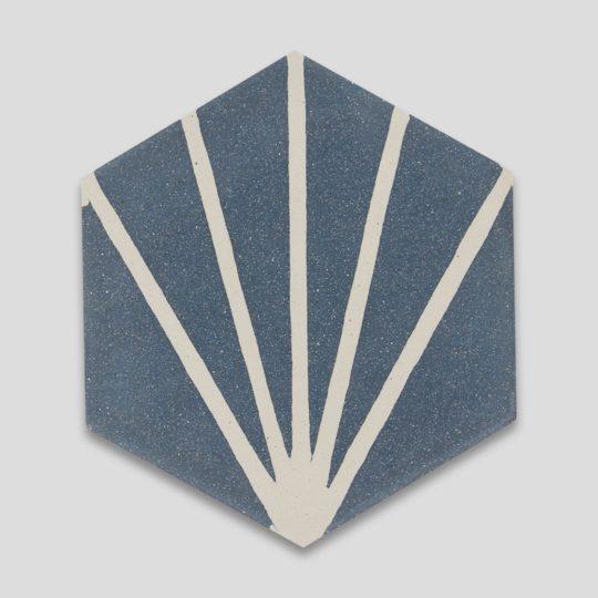 Lily Hex Navy Blue Hexagon Encaustic Cement Tile