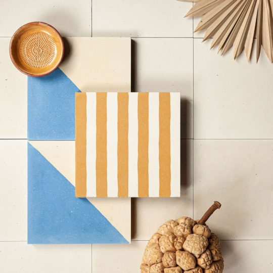 Mustard Stripes Encaustic Cement Tile
