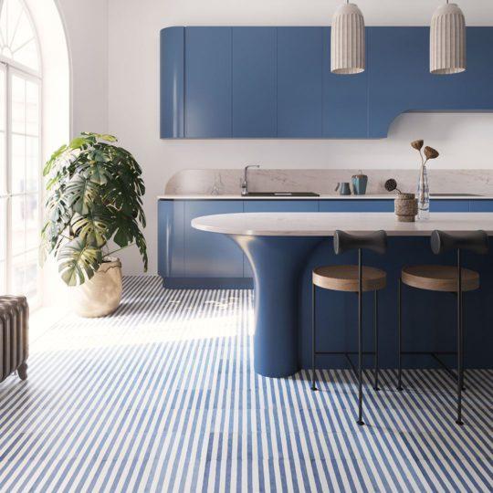 Navy Blue Stripes Encaustic Cement Tile