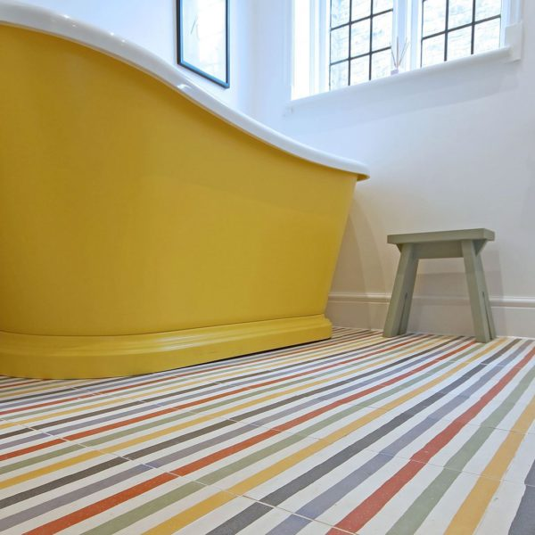 Rainbow Stripes Encaustic Cement Tile