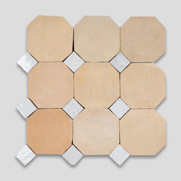 Moroccan Terracotta White Octagon Zellige Tile